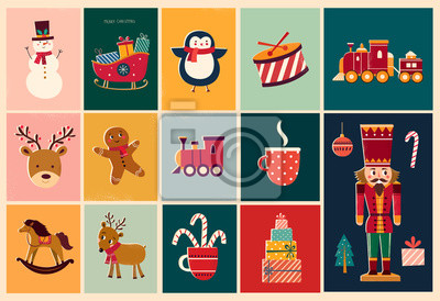 Fototapeta Christmas decorative illustrations in vintage style