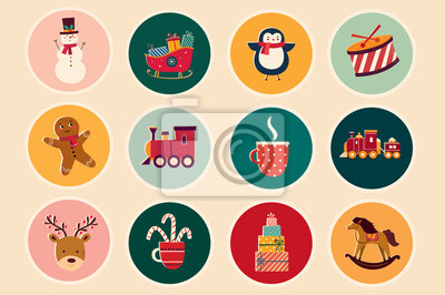 Christmas decorative illustrations in vintage style