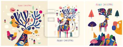 Fototapeta Christmas decorative illustrations with colorful deer.