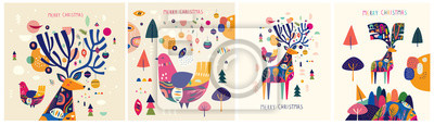 Christmas decorative illustrations with colorful deer and bird.