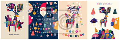 Christmas decorative illustrations with colorful deer and funny Santa Claus.