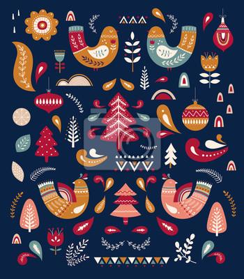 Fototapeta Christmas decorative pattern with tree and birds. Scandinavian folk style.