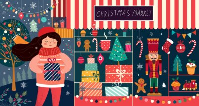Christmas decorative postcard with happy girl and gift shop