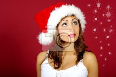 Fototapeta Christmas dziewczyna na czerwonym tle