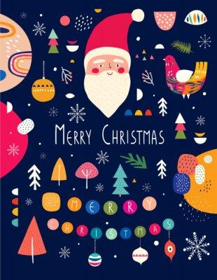 Fototapeta Christmas funny illustration with fSanta Claus.