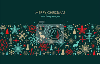 Fototapeta Christmas greeting card/ poster/ cover with stars, snowflakes, Christmas tree and reindeer