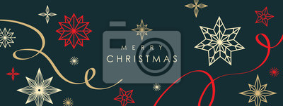 Fototapeta Christmas greetings banner with swirl ribbons and stars on black colour background