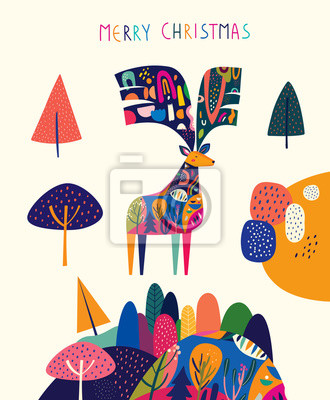 Christmas illustration with amazing colorful deer.