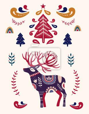 Christmas illustration with decorative deer and Christmas tree