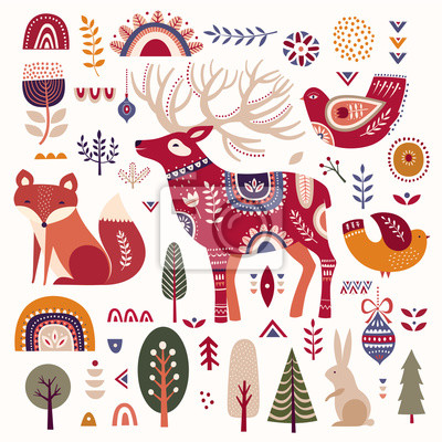 Christmas illustration with decorative deer, fox and birds