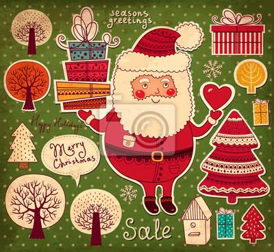 Fototapeta Christmas ilustracji z Funny Santa Claus