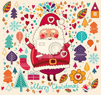 Christmas ilustracji z Zabawna Mikołajem