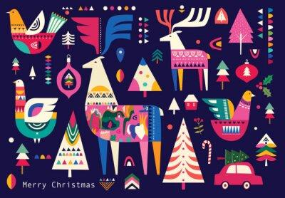 Fototapeta Christmas pattern in Scandinavian folk style with deer, Christmas tree, bird