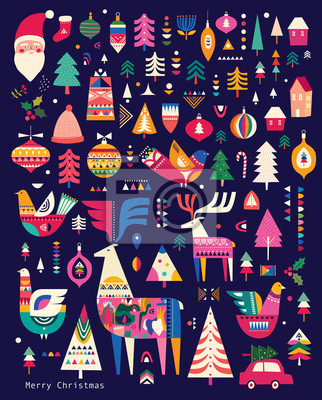 Fototapeta Christmas pattern in Scandinavian folk style with deer, Christmas tree, bird and other
