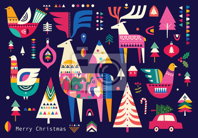 Fototapeta Christmas pattern in Scandinavian folk style with deer, Christmas tree, bird and other