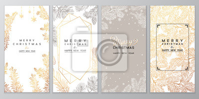 Fototapeta Christmas Poster set of Christmas Background with golden branches of christmas tree.