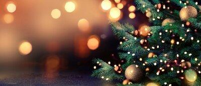 Fototapeta Christmas tree with lights background