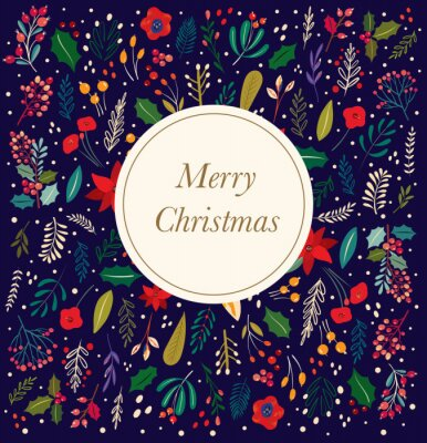 Fototapeta Christmas vector collection of decorative floral elements.