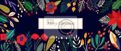 Fototapeta Christmas vector illustration with decorative floral elements.