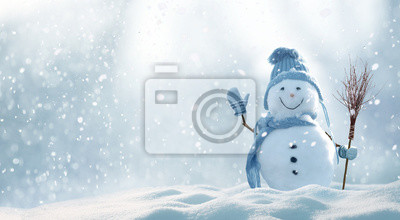 Fototapeta Christmas winter background with snow and blurred bokeh.Merry christmas and happy new year greeting card with copy-space.