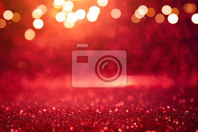 Fototapeta Christmas xmas background red abstract valentine, Red glitter bokeh vintage lights, Happy holiday new year, defocused.