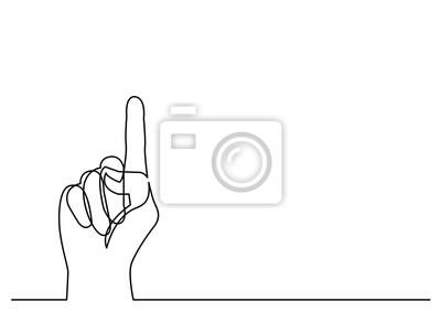 Fototapeta ciągła linia rysunek dłoni wskazując palcem