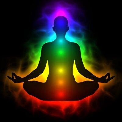 Fototapeta Ciało energetyczne człowieka, aura, czakry w medytacji
