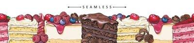Fototapeta Ciasta i torty poziome bez szwu granicy wzór w stylu szkicu - piękna rama z ręcznie rysowane produktu piekarniczego z owocami i jagodami. Wektorowa ilustracja jaskrawa stopka z słodkimi deserami.