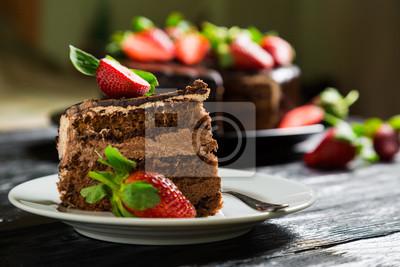 Fototapeta Ciasto czekoladowe z truskawek