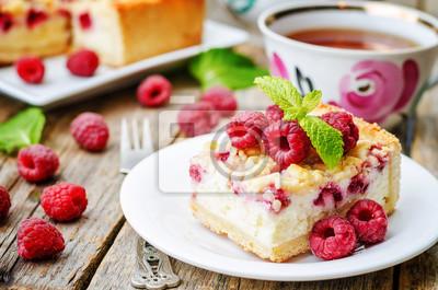 Fototapeta ciasto z malinami i twarogiem