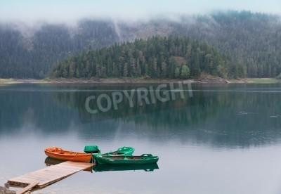 Fototapeta Cichy czarny Jezioro watered z łodzi molo, lasu odzwierciedlających w światowego dziedzictwa UNESCO Park Narodowy Durmitor z przeciwmgielnych i chmury, Czarnogóra