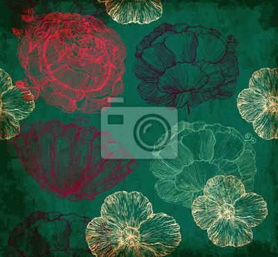 Fototapeta Ciemne tło z fakturą kwiatów