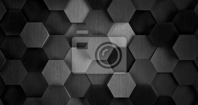 Fototapeta Ciemny czarno-białe tło płytek sześciokątna - Ilustracja 3D