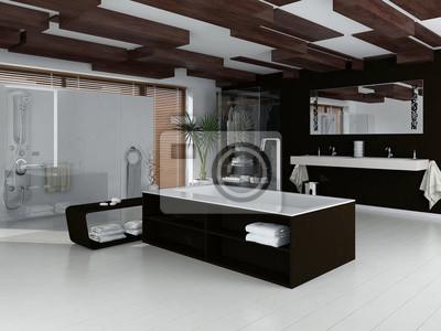 Ciemny Luksusowe Wnętrza łazienki W Nowoczesne Meble Fototapety Redro