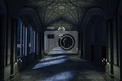 Fototapeta Ciemny pałac korytarz z zaświecać świeczki i blasku księżyca jaśnieniem przez okno, 3d odpłacamy się.