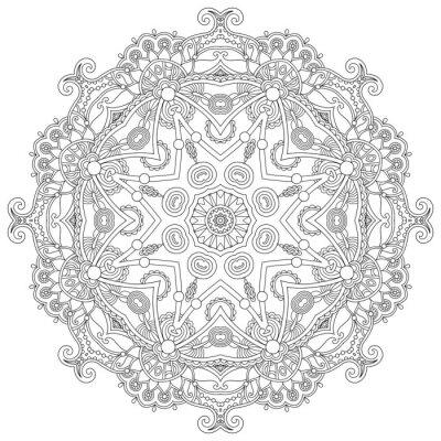 Fototapeta Circle lace ornament, round ornamental geometric doily pattern,