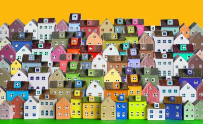 Fototapeta City background with rows of wooden colorful houses
