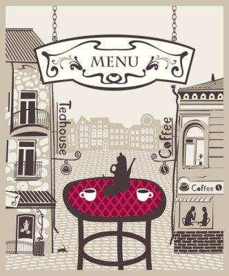 Fototapeta City Cafe ze stołem i gorącej herbaty