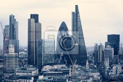 Fototapeta City of London aria biznesowych zobaczyć na zachodzie słońca. Zobacz obejmuje korniszon i nowoczesne wieżowce z wiodących firm finansowych