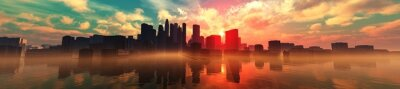 Fototapeta City over water panoramic view, sunset over the city, sea sunset in a modern city, 3D rendering