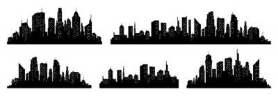 Fototapeta City silhouette vector set. Panorama city background. Skyline urban border collection.