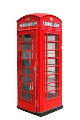 Fototapeta Classic brytyjski czerwony telefon stoisku w Londynie, samodzielnie na białym tle