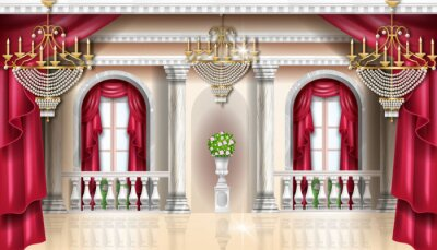 Fototapeta Classic palace interior vector background, royal castle room, red curtain, golden chandelier, balustrade. Marble column, vase, arch window. Architecture vintage apartment wallpaper, palace interior