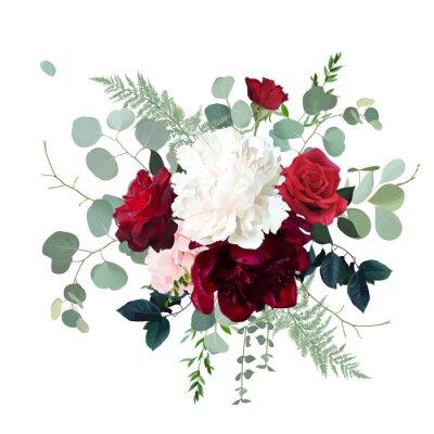 Fototapeta Classic red roses, white and burgundy peony, pink hydrangea