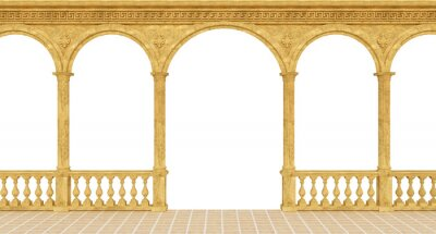 Fototapeta Classical greek colonnade with a balustrade and columns - 3d rendering