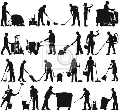 Fototapeta Cleaning service janitor workers vector silhouette collection