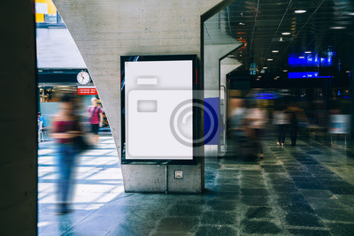 Fototapeta Clear Billboard in public place with blank copy space screen for advertising or promotional poster content, empty mock up Lightbox for information, blank display in station area with daylight
