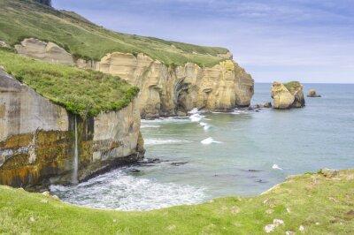 Fototapeta Cliffs of Tunnel plaży, Półwysep Otago, Nowa Zelandia