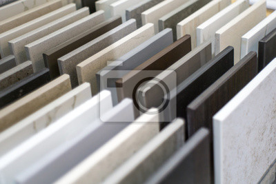 Fototapeta Close up of stone kitchen countertop samples