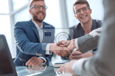 Fototapeta close up. successful business people shaking hands